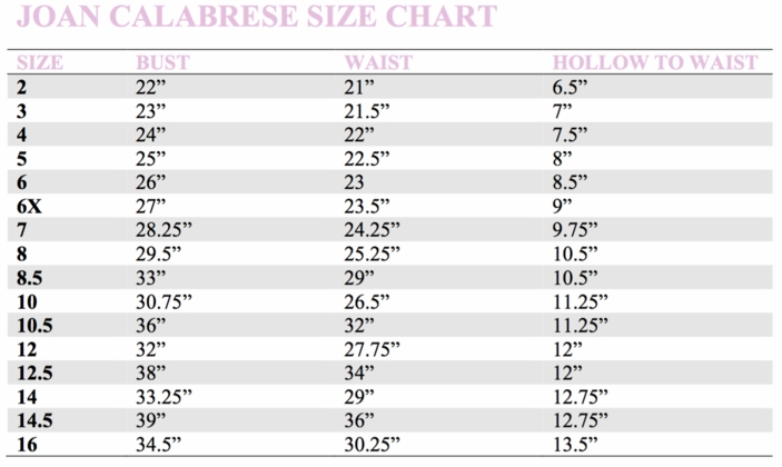JOAN CALABRESE SIZE CHART