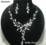 Josanne - BEAUTIFUL CZ vine drop wedding necklace set - SALE