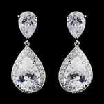 Josette - Elegant CZ pear drop bridal earrings - SPECIAL