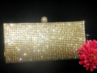 Joyce -Gold crystal rhinestone evening clutch purse