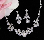 Julia - Floral Crystal Pearl Necklace Set - SALE