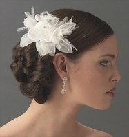 June - Elegant Ivory feather floral bridal hair comb - SALE!!