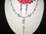 June - Sophisticated long vine drop CZ necklace set - SALE!!