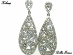 Kelsey - NEW!! Dramatic vintage filigree drop rhinestone earrings -- SPE CIAL