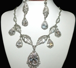 Kendra - Dramatic Statement Swarovski crystal bridal necklace set - SPECIAL one left