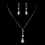 Kiera - Antique Silver off white Drop Pearl wedding Necklace set - SALE