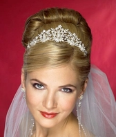 Krista - Beautiful crystal pearl filigree bridal tiara - SALE!!