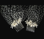 Latrice - Beautiful pearl and crystal side combs with cage veil - SALE
