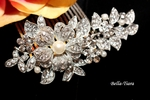 Lavana - Beautiful floral swarovski crystal comb with pearl - SPECIAL