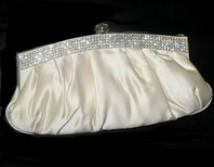 Layla - COUTURE ivory satin with swarovski crystal bridal purse - Amazingly priced!!!