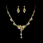 Leilani - Beautiful Gold plated clear necklace set