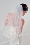 Lena - Elegant satin edge scattered crystal veil - SPECIAL