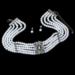 Leona - Victorian ivory or white pearl choker necklace set