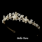 Lexi - Magnificent Gold & Ivory Pearl Floral Wedding Tiara