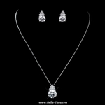 Lexie - Elegant CZ solitaire drop wedding necklace set  - SPECIAL