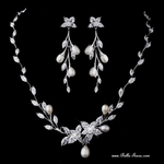 Lexie - Sophisticated freshwater pearl CZ bridal necklace set - AMAZING PRICE