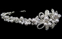 Lia - Beautiful pearl and antique silver rhinestone headband