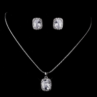 LIDIA - Elegant emerald cut bridesmaids or bride necklace set - SPECIAL