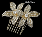 Elegant Light Gold crystal Rhinestone Comb
