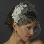 Lila - Floral wedding Veil Fascinator with Rhinestone, Crystal & Lace