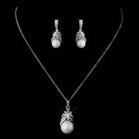 Lillie - Stunning CZ & White Pearl Bridal Jewelry Set - SALE!!