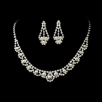 Lina-Elegant rhinestone and pearl necklace set