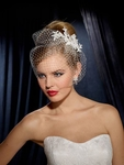 Liza - Beautiful elegant floral crystal w/cage veil hair comb - SPECIAL