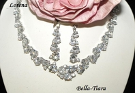Lorena - Marvelous couture CZ wedding necklace set - SALE