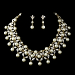 Loretta - GLAMOROUS gold pearl wedding necklace set - SALE