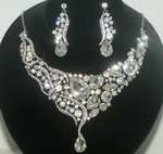 Lousie - Dramatic Swarovski crystal wedding necklace set