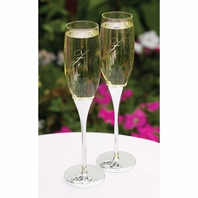Love crystal hearts personalized wedding flutes - SALE