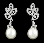 Lovely beautiful off white pearl and cz earrings - SALE