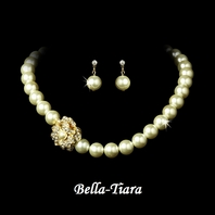 Lovely Gold Ivory Pearl Wedding Necklace Set