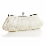 Lovely - Ivory Lace Bridal Purse with Crystal Clasp