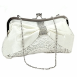Lovely - Light Ivory Lace Bridal Purse with Crystal Clasp