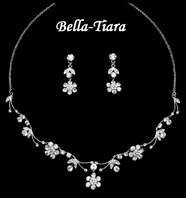 Lovely Silver Clear Crystal Communion Necklace Set