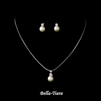 Lovely Silver Ivory Pearl Drop Flower Girl Necklace Set