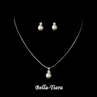 Lovely Silver White Pearl Drop Flower Girl Necklace Set