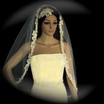 Luxurious Collection - Romantic beaded french lace wedding veil