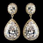 LUXURIOUS large CZ gold drop wedding earrings