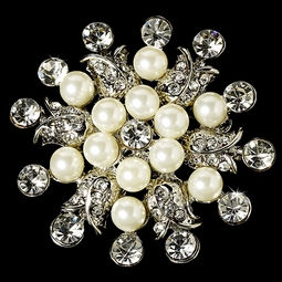 Lynette - Beautiful rhinestone ivory bridal brooch