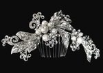 Mandora - Beautiful vintage rhodium pearl crystal comb - SALE