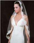 Mantilla lace edge couture bridal veil - SALE!!
