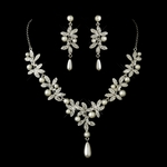 Marcelina - LOVELY antique silver pearl wedding necklace set - SPECIAL