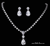 Marcella - Elegant Cubic Zirconia diamond like drop necklace set - SPECIAL- sold!
