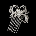 Maribel - Antique Silver Ribbon Swirl Wedding Hair Comb - SALE