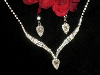 Marissa - Elegant Drop Rhinestone Bridal Necklace Set - SALE