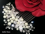 Meghan - Romantic pearl crystal wedding hair comb - SALE