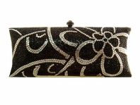 Merle - SPECTACULAR elegant swarovski crystal black clutch purse - SALE!!!