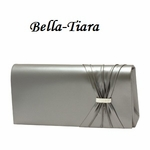 Metallic Grey Satin Wedding Purse